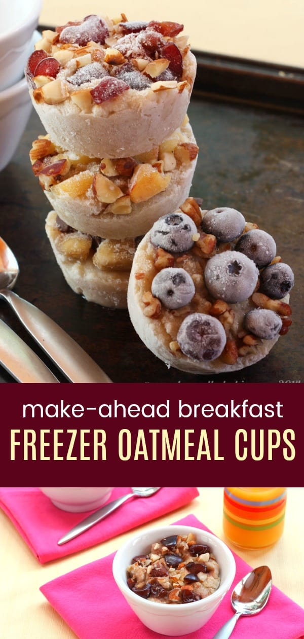 Make Ahead Breakfast Oatmeal Cups - meal prep a healthy breakfast when you customize these easy DIY freezer oatmeal cups with your favorite toppings. #oatmeal #mealprep #breakfast #glutenfree