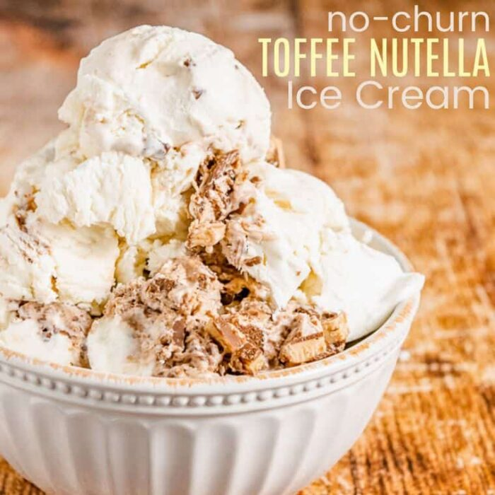Nutella swirl toffee crunch is the creamiest no churn ice cream recipe! Swirled with ribbons of chocolate hazelnut spread and studded with crunchy bits of toffee, and NO ice cream maker is needed.