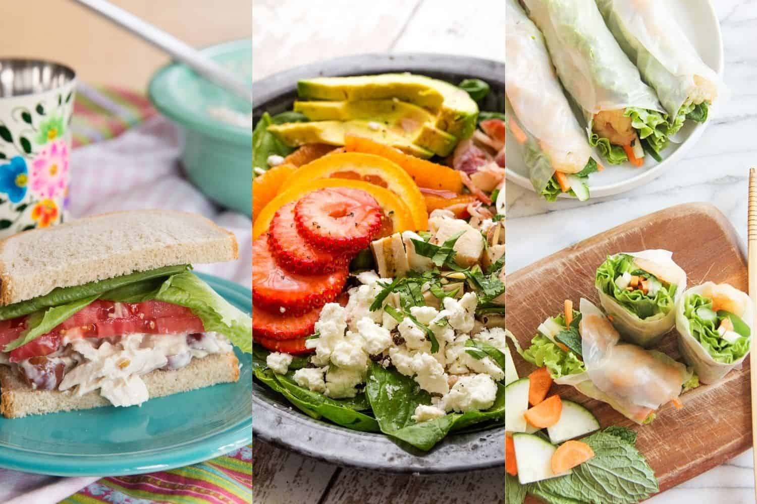 collage of a chicken salad sandwich, spinach salad with strawberries, and shrimp spring rolls