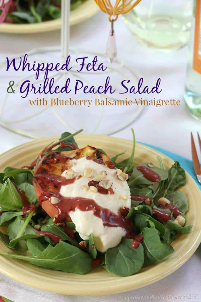 Whipped Feta & Grilled Peach Salad with Blueberry Balsamic Vinaigrette | cupcakesandkalechips.com | #vegetarian #fruit #glutenfree