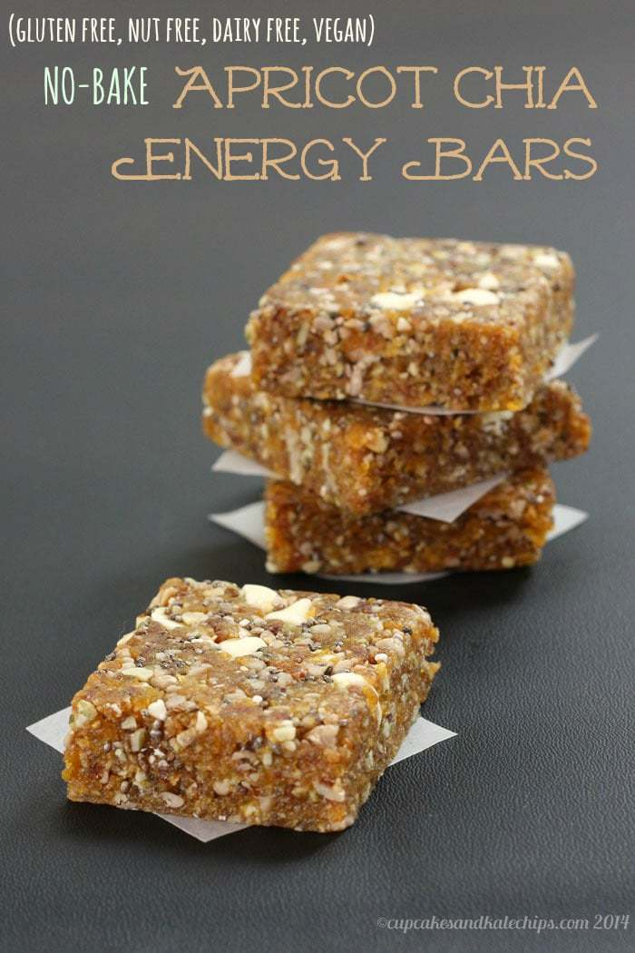 No-Bake Apricot Chia Energy Bars - gluten free, nut free, vegan