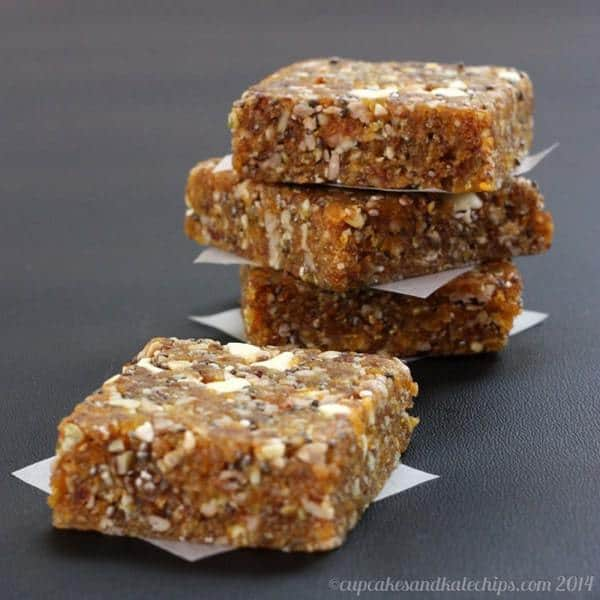 Apricot Chia Energy Bars on wax paper squares