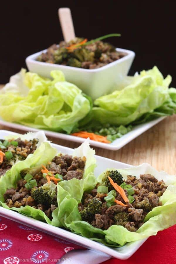Asian Beef and Broccoli Lettuce Wraps - a quick, easy, healthy weeknight dinner or appetizer.