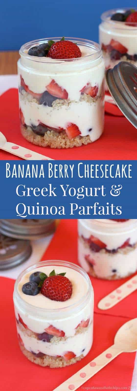 Banana Berry Cheesecake Greek Yogurt & Quinoa Parfaits - a fun, healthy breakfast, snack or dessert! | cupcakesandkalechips.com | gluten free, no sugar added