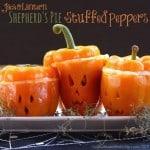 Jack O'Lantern Shepherd's Pie Stuffed Peppers