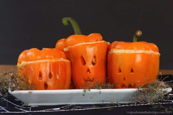 Shpeherds Pie Stuffed Peppers carved like Jack O'Lanterns