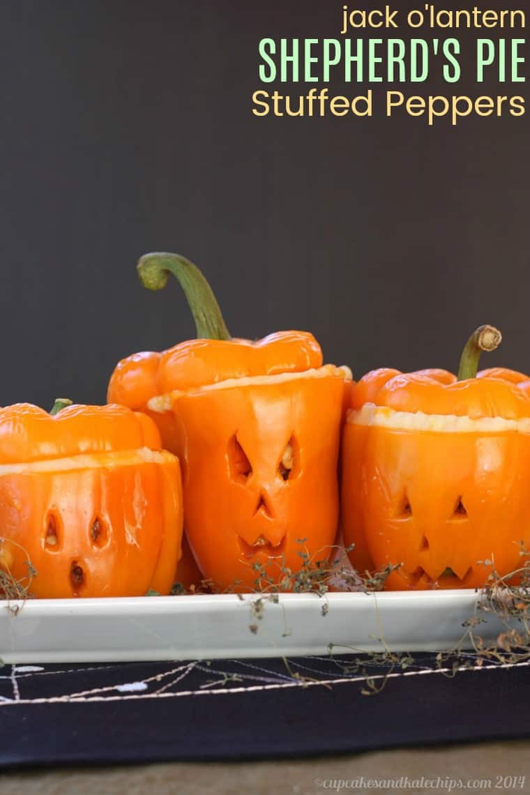 Jack o lantern shepherd s pie stuffed peppers cupcakes