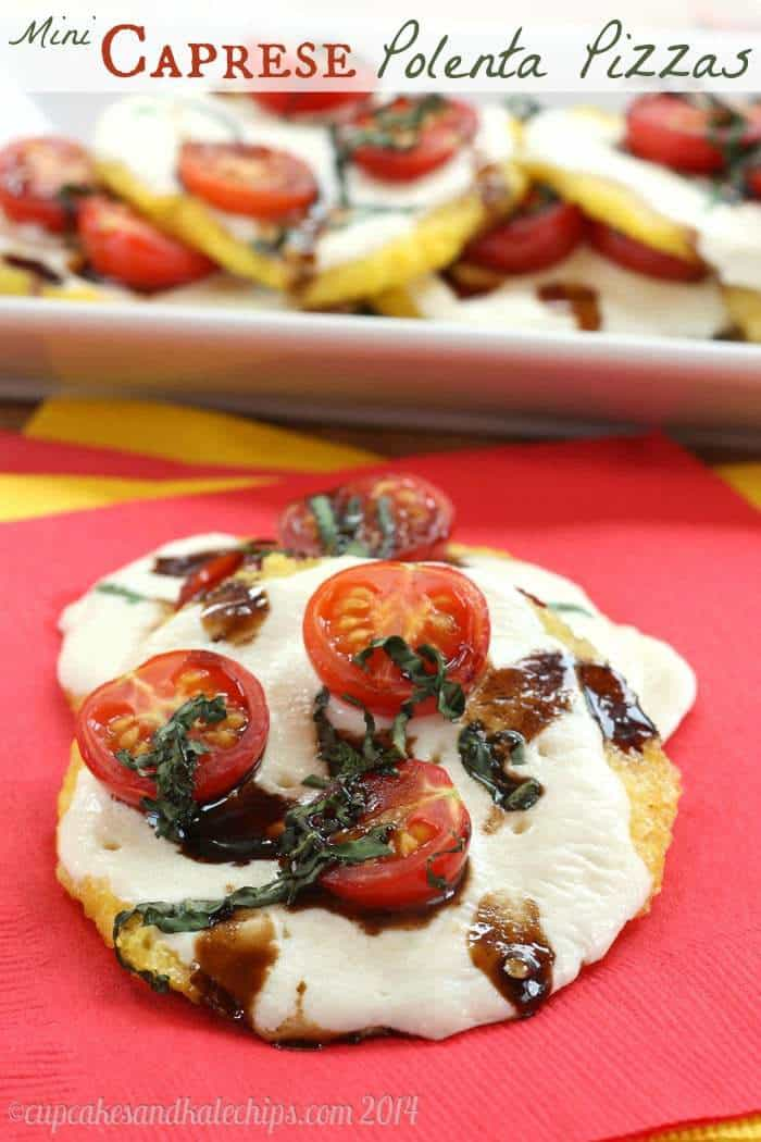 Mini Caprese Polenta Pizzas - tailgate in style with these fun gluten free appetizers! | cupcakesandkalechips.com | #glutenfree #vegetarian #pizza #appetizer