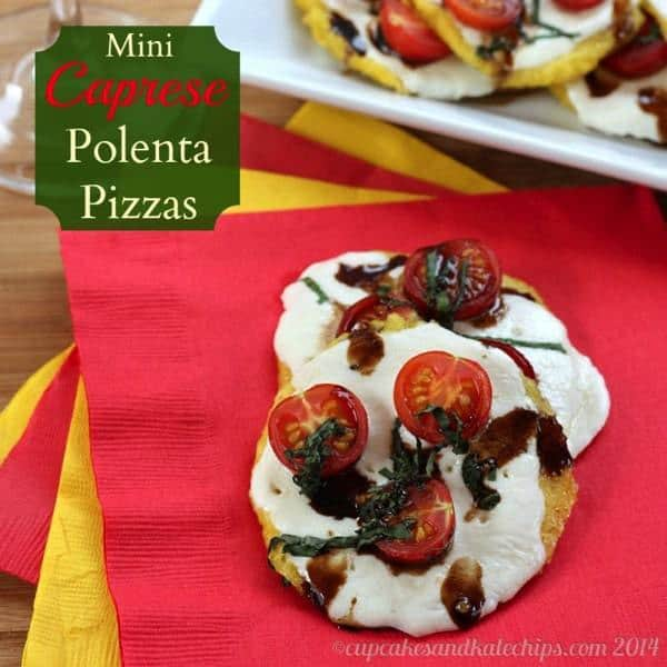 Mini Caprese Polenta Pizzas - tailgate in style with these fun appetizers!   cupcakesandkalechips.com   #glutenfree #vegetarian #pizza #appetizer