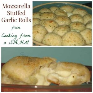 Mozzarella Stuffed Garlic Rolls Square Collage Collage