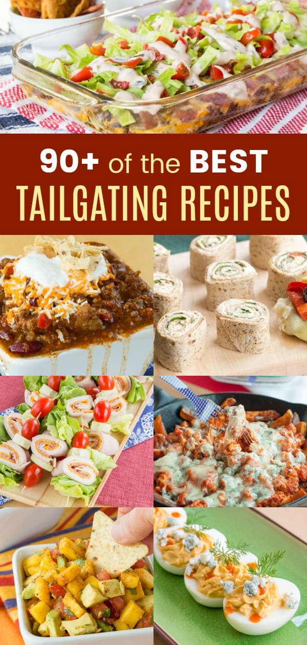 The Best Tailgating Recipes - over 90 easy recipes for your favorite tailgate food including dips, finger food, wings, nachos, chili, sliders, and more. Everything you love to eat while watching a football game! #cupcakesandkalechips #tailgate #tailgating #tailgatefood #tailgatingrecipes #tailgaterecipes #football #gameday #gamedayfood #diprecipes #nachos #wings