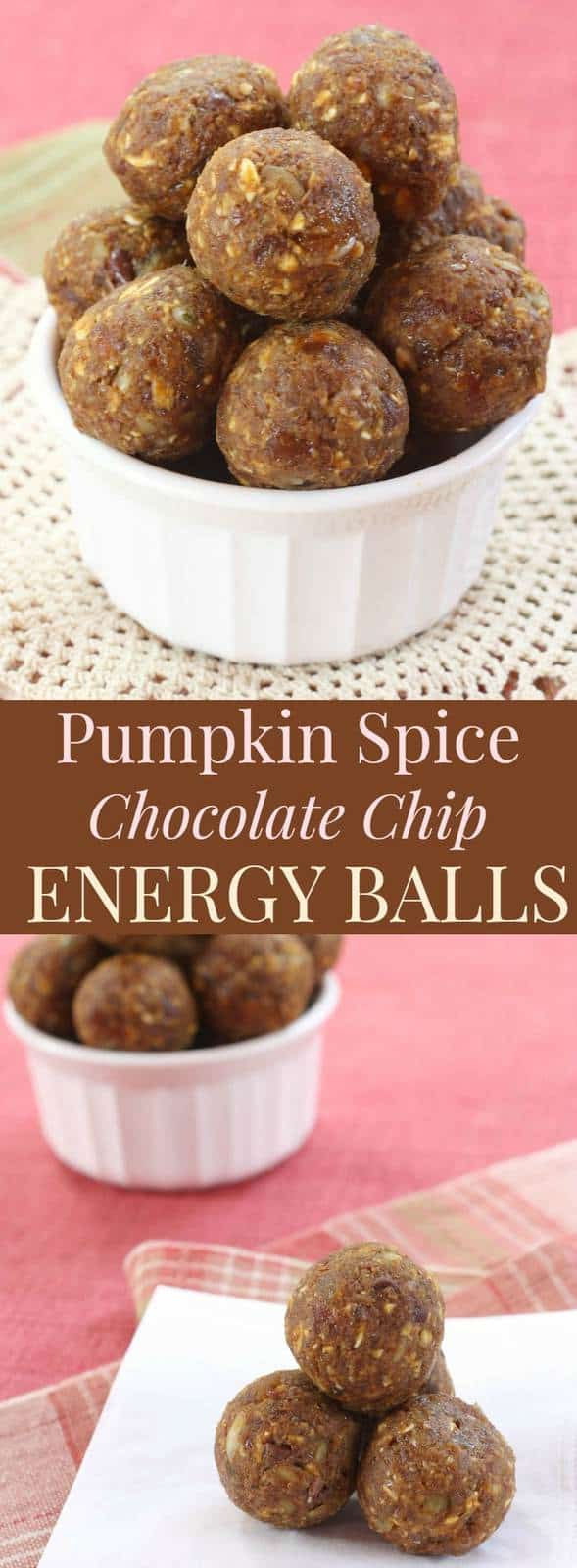 Pumpkin Spice Chocolate Chip Energy Balls - quick, easy, healthy snacks! Options to make gluten free, diary free, nut free, and vegan. | cupcakesandkalechips.com