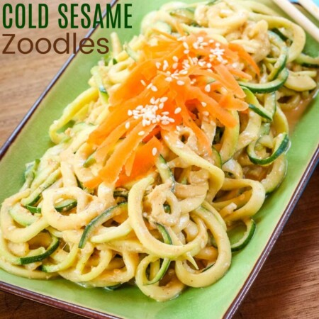 Cold Sesame Zoodles Recipe image with title text