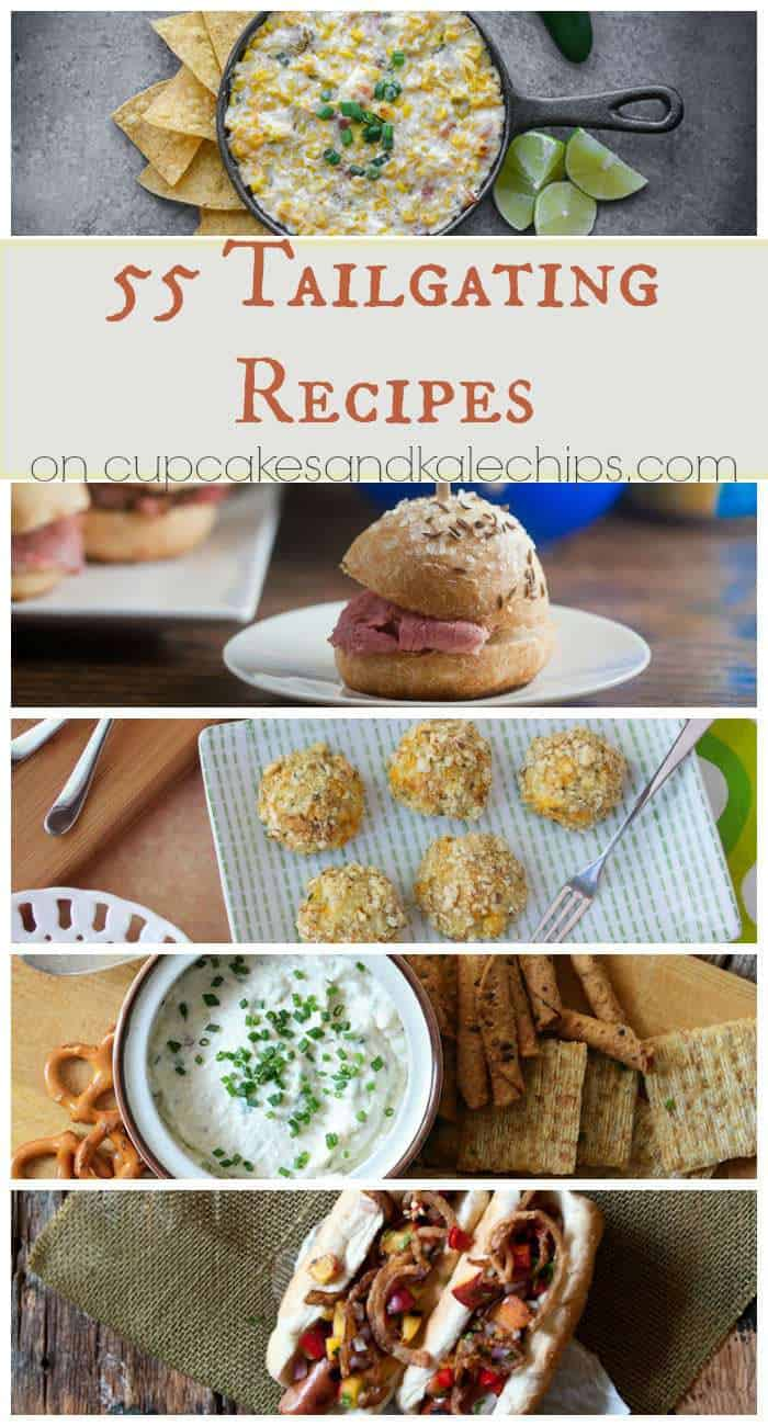 55 Tailgating Recipes - chili, dips, sliders, sandiwches, snacks, appetizers and more for your tailgate or football party! (plus a KitchenAid Giveaway) | cupcakesandkalechips.com
