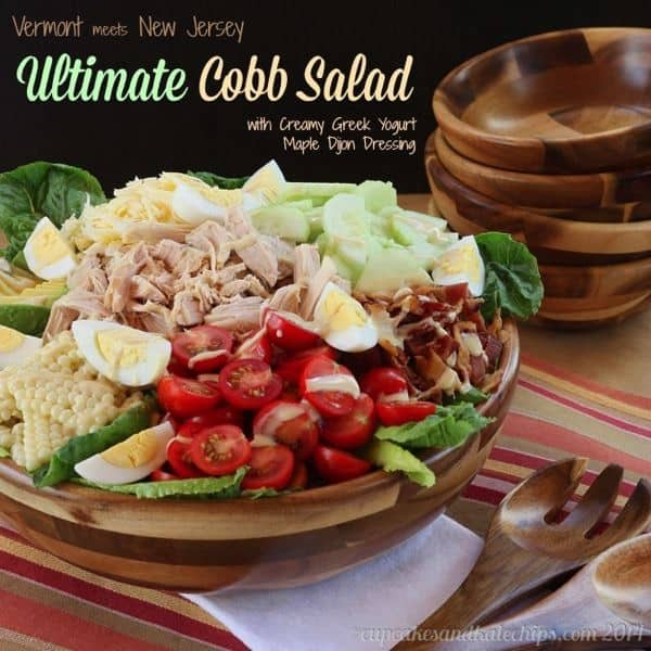 Vermont Meets New Jersey Ultimate Cobb Salad with Creamy Greek Yogurt Maple Dijon Dressing | cupcakesandkalechips.com | #bacon #cheese #glutenfree