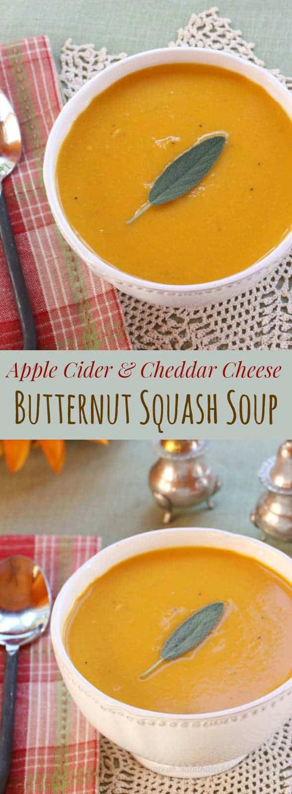 Apple Cider and Cheddar Cheese Butternut Squash Soup - a creamy autumn soup recipe