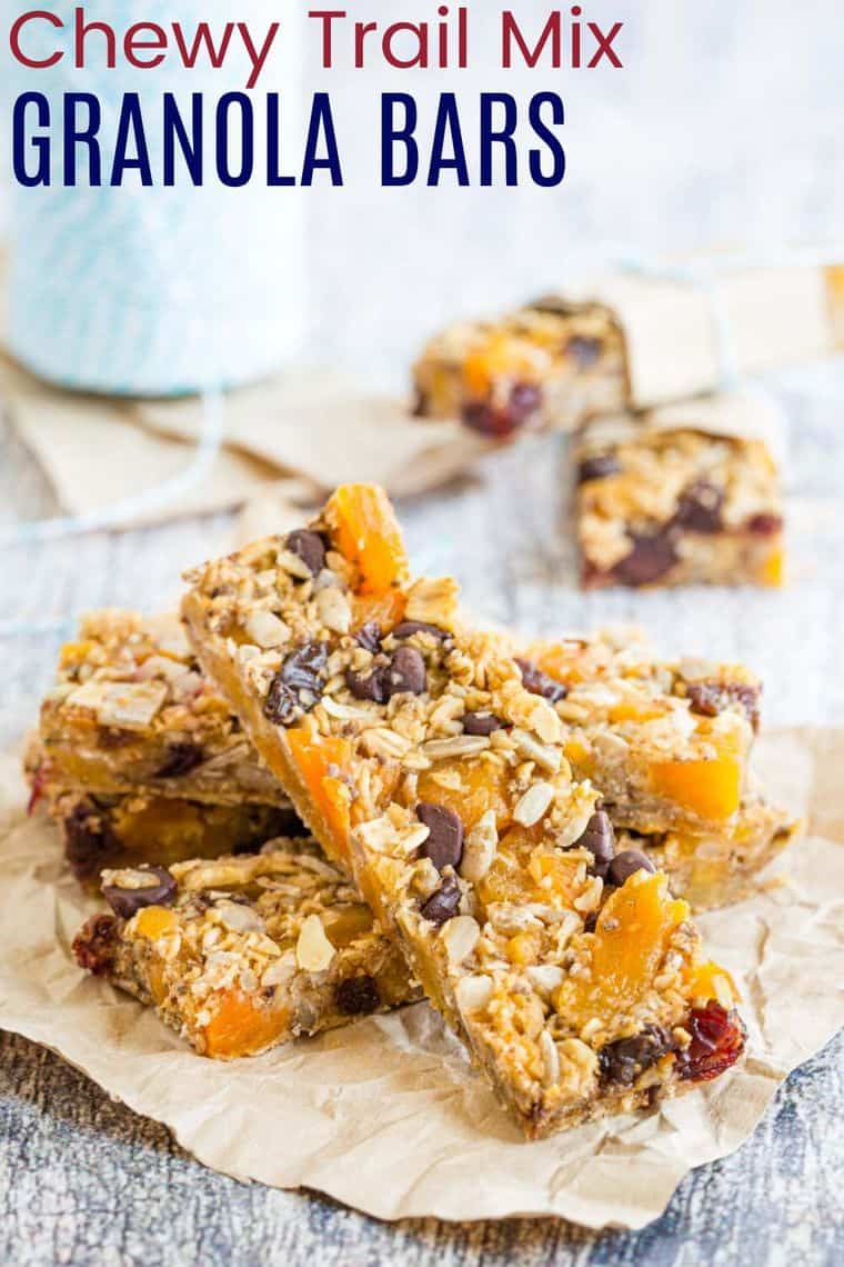 Chewy Trail Mix Granola Bars Recipe Image with Title