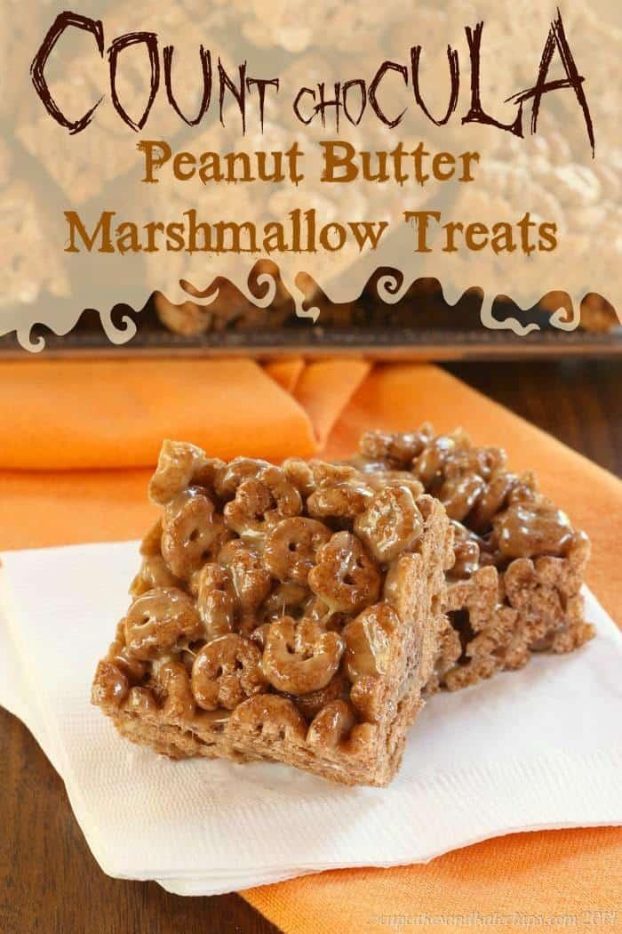 Count Chocula Peanut Butter Marshmallow Treats - fun and easy no-bake Halloween cereal treats with peanut butter, marshmallows & chocolate | cupcakesandkalechips.com