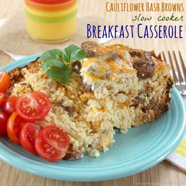 Cauliflower Hash Browns Slow Cooker Breakfast Casserole - an easy recipe to feed a crowd | cupcakesandkalechips.com | gluten free, low carb