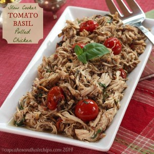 Slow Cooker Tomato Basil Pulled Chicken