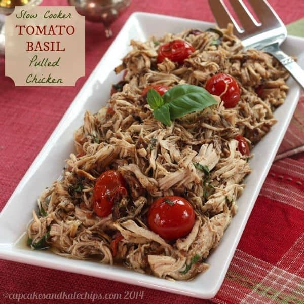 Slow Cooker Tomato Basil Pulled Chicken is a simple, flavorful and fresh dinner recipe | cupcakesandkalechips.com | #glutenfree #lowcarb #crockpot