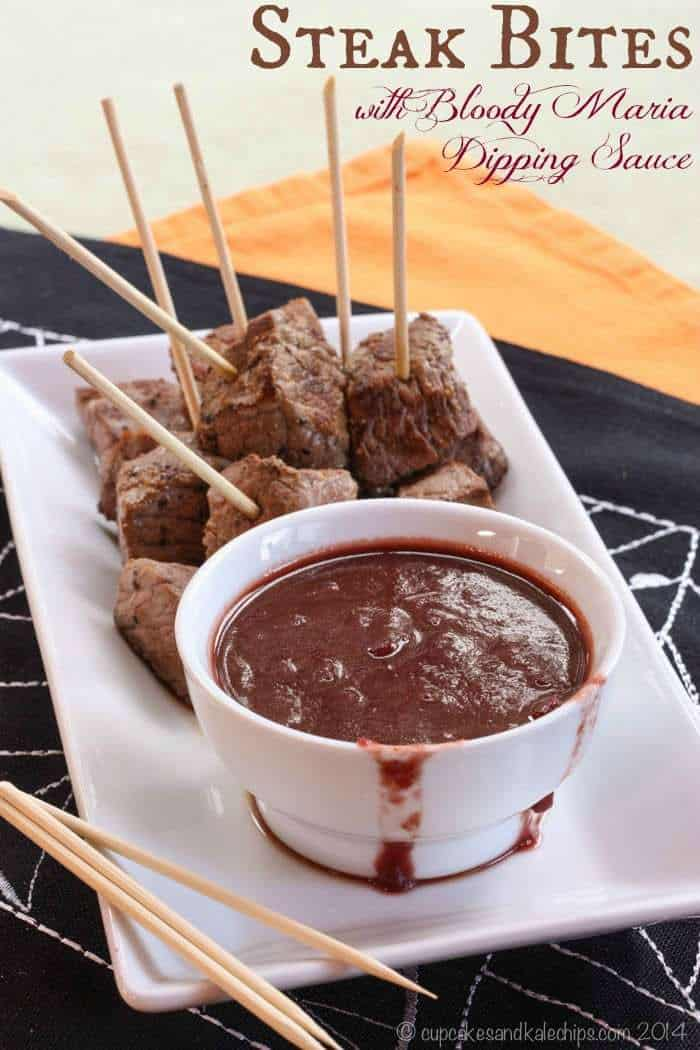 Steak Bites with Bloody Maria Dipping Sauce - a party appetizer of perfectly seasoned beef and a rich red wine dip | cupcakesandkalechips.com | gluten free
