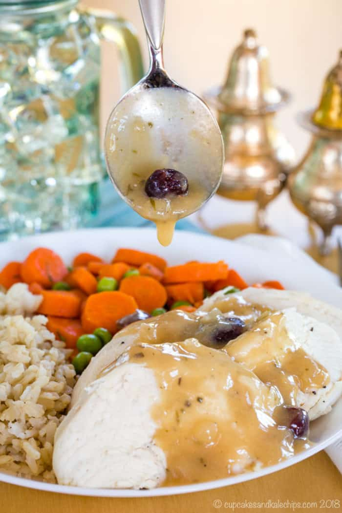 Spoon Cranberry Apple Cider Gravy over turkey or chicken