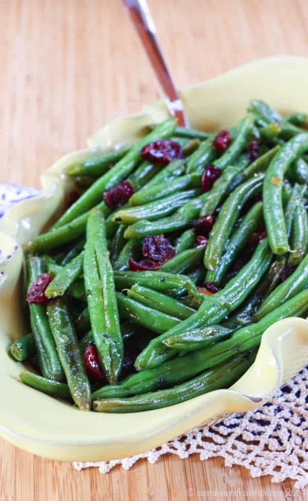 Cranberry Orange Glazed Green Beans - a healthy vegetable side dish for Thanksgiving or Christmas