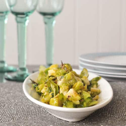 Ginger Lime brussels sprouts in a serving bowl
