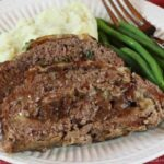 French Onion Meatloaf Sliced on a plate