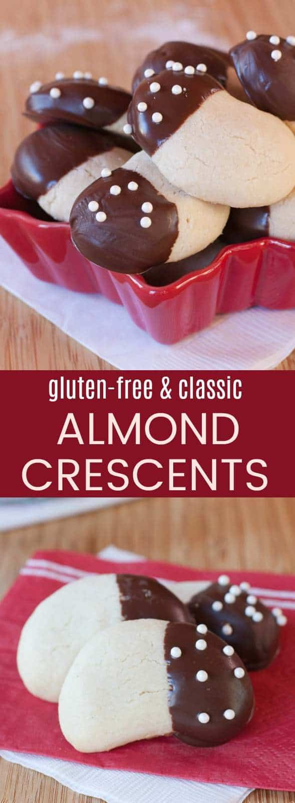 Almond Crescents - with gluten-free and classic recipes, this traditional Christmas cookie recipe is sure to be a family favorite for holiday baking! Tender and buttery, and dipped in chocolate and sprinkles! #glutenfree #glutenfreebaking #cookies #christmascookies #almondcrescents