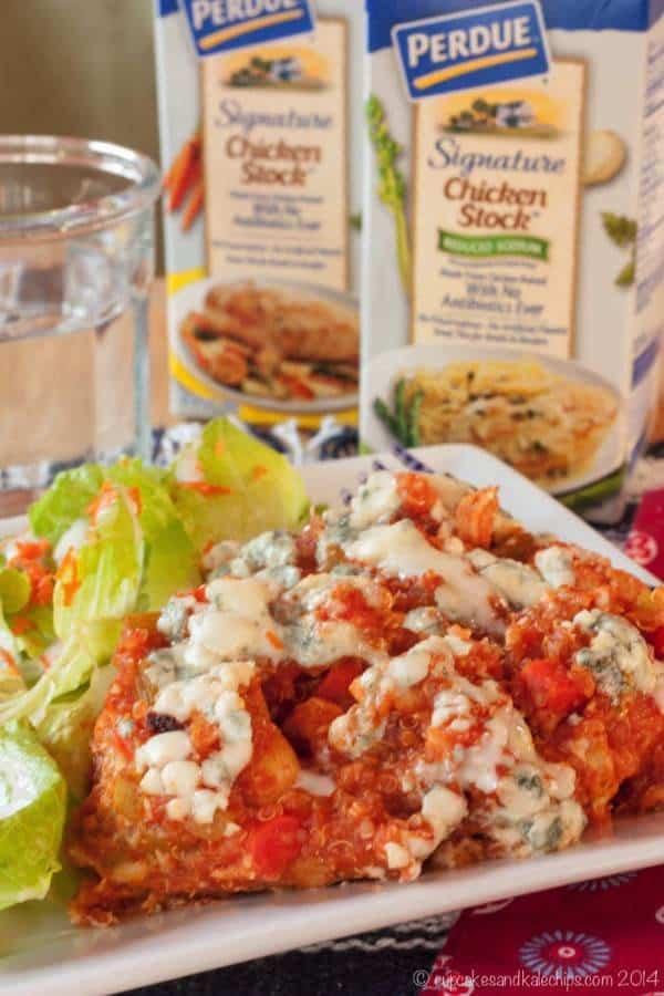 Slow Cooker Buffalo Chicken Quinoa Casserole - an easy crockpot dinner recipe