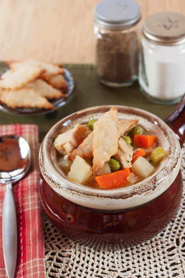 Turkey Pot Pie Soup topped with pie crust crackers
