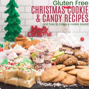 Slate board piled with gluten free Christmas treats
