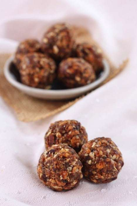 Peach Crisp Energy Balls - just one of the recipes for healthy no-bake snacks kids love to find in their school lunch or as an after school snack.