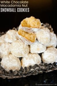 Macadamia Nut White Chocolate Chip Snowball Cookies Recipe