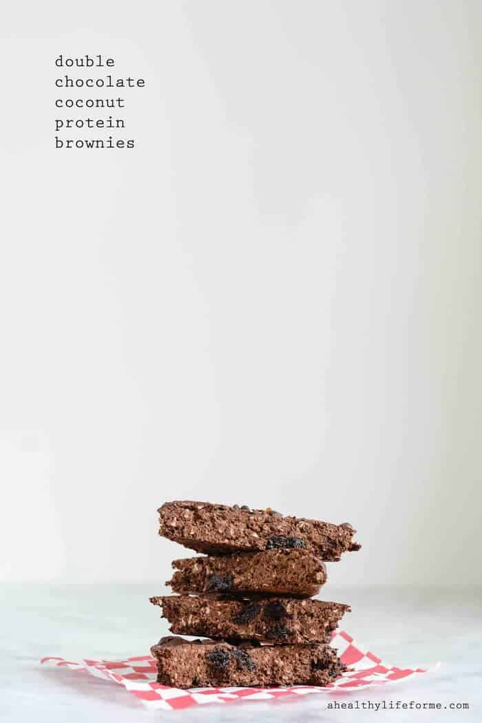 Double Chocolate Coconut Protein Brownies are a healthy indulgence filled with fiber and antioxidants, but gluten free and vegan! | ahealthylifeforme.com for cupcakesandkalechips.com | #EatHealthy15