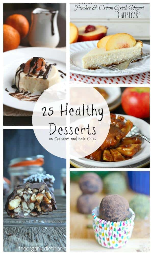 25 Healthy Desserts - light, skinny, low carb, gluten free, and evrything in between, you'll find some of the best healthier sweet treats in this recipe collection! | cupcakesandkalechips.com