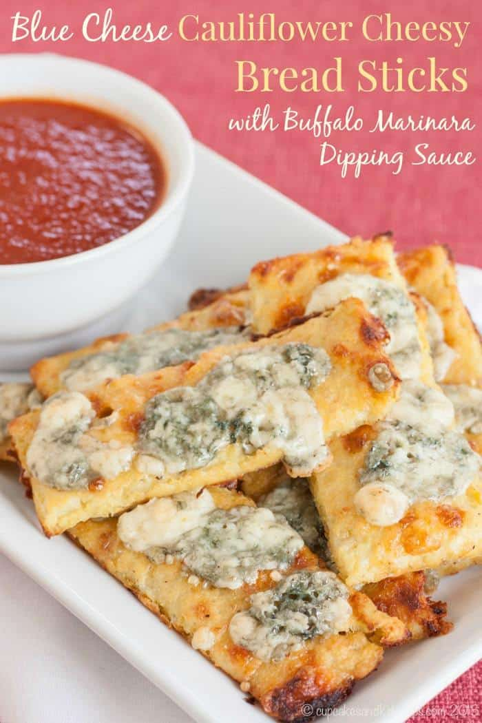 Blue Cheese Cauliflower Cheesy Bread Sticks with Buffalo Marinara Dipping Sauce - a crispy, gooey, spicy appetizer recipe that's low carb and gluten free!