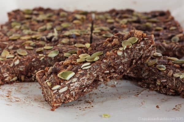 No-Bake Nut-Free Granola Bars - and easy and indulgent healthy snack with chocolate and coconut, but not a lot of sugar from the sugarfreemom.com cookbook   cupcakesandkalechips.com   gluten free, dairy free, vegan