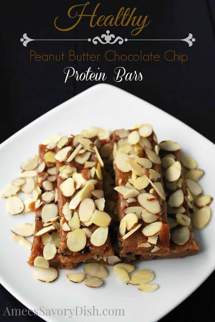 Peanut Butter Chocolate Chip Protein Bars - an indulgent dessert can be healthy too! You'll love these no-bake bars! | ameessavorydish.com for cupcakesandkalechips.com | gluten free
