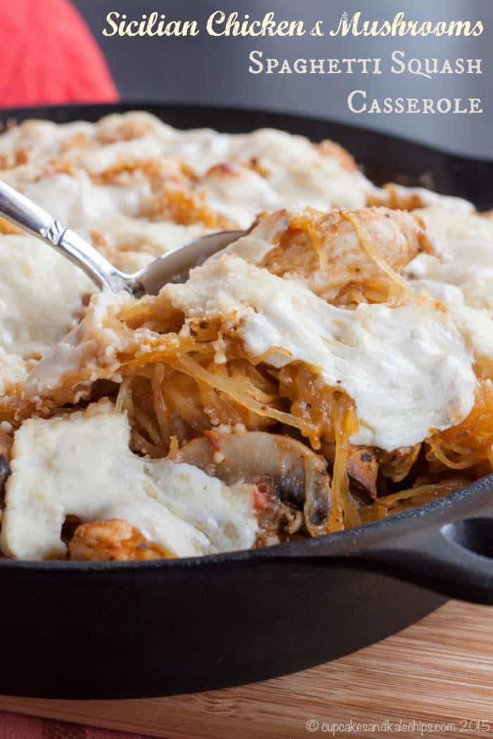 Sicilian Chicken and Mushrooms Spaghetti Squash Casserole is a hearty and comforting special meal made easy with McCormick's Skillet Sauces | cupcakesandkalechips.com | #McSkilletSauce