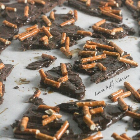 Dark Chocolate Salted Caramel Pretzel Bark