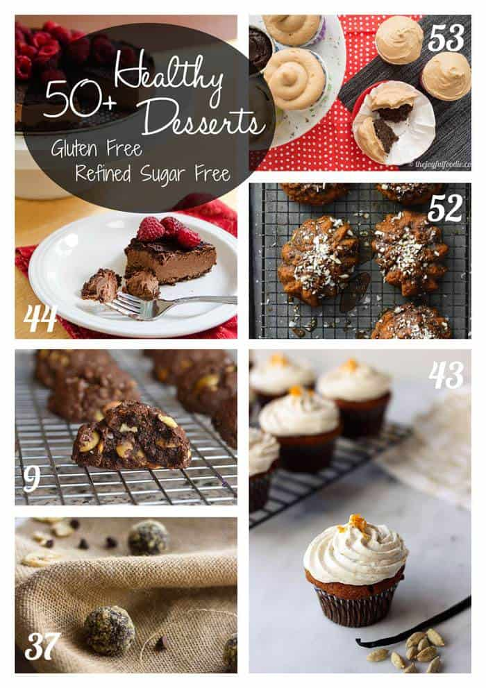 50+ Healthy Gluten Free Dessert Recipes - these desserts are refined sugar free too, for a healthier way to help you satisfy your sweet tooth | cupcakesandkalechips.com