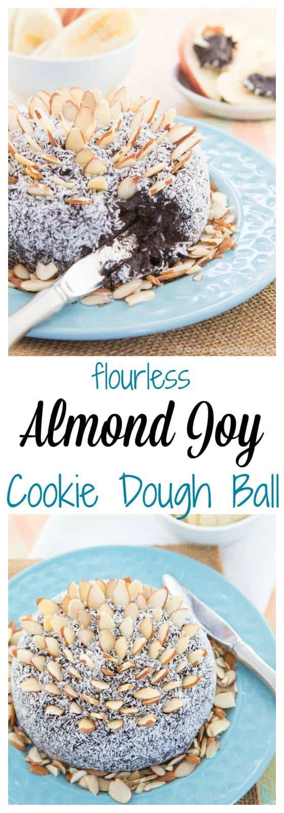 Flourless Almond Joy Cookie Dough Ball has the classic combination of chocolate, coconut, and almonds in a decadent dessert dip that's secretly healthy! | cupcakesandkalechips.com | gluten free, vegan