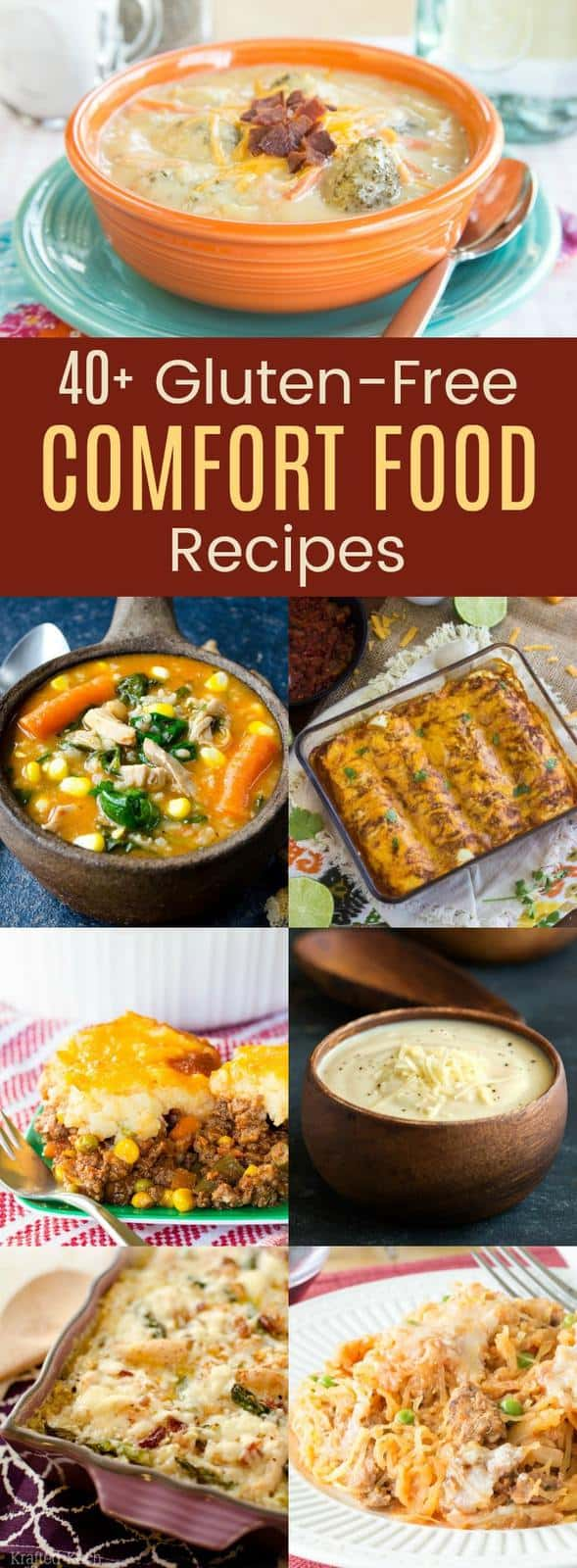 Over 40 Gluten Free Comfort Food Recipes - casseroles, skillets, soups, stews, slow cooker meals and more comfort foods for dinner this fall, winter, or all year long!