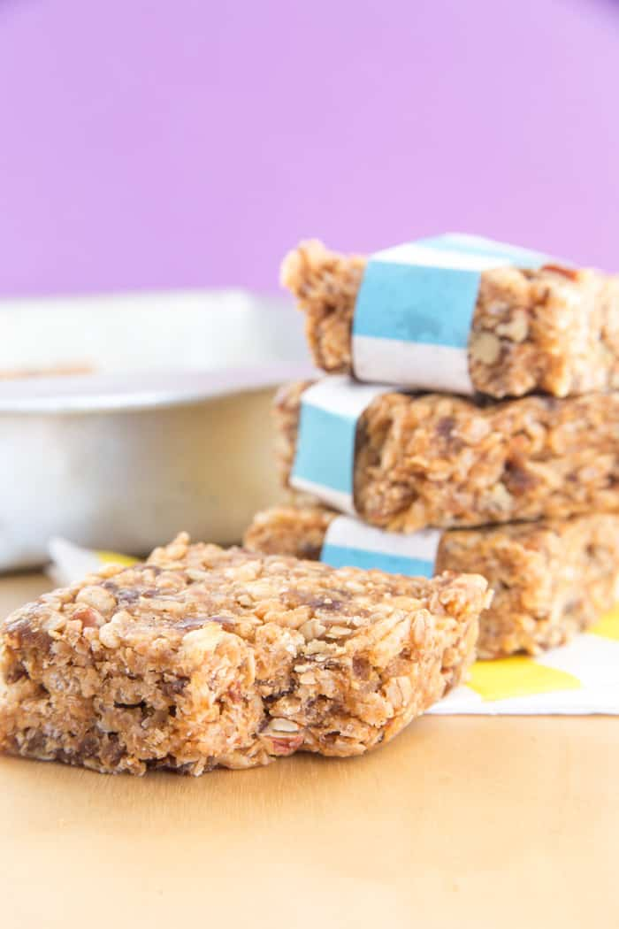 Bite taking out of Honey Nut No Bake Granola Bars