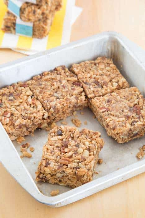 Honey Nut No-Bake Granola Bars - just one of the recipes for healthy no-bake snacks kids love to find in their school lunch or as an after school snack.