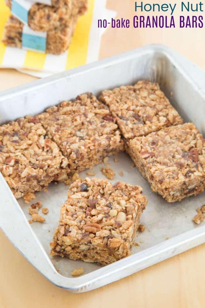 Honey Nut No Bake Granola Bars Recipe