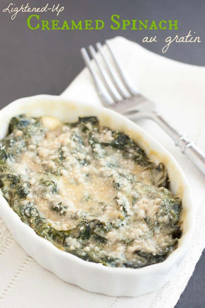 Lightened Up Creamed Spinach au Gratin - a quick, easy, and healthy version of the classic steakhouse side dish that's still creamy and delicious | cupcakesandkalechips.com | gluten free, vegetarian